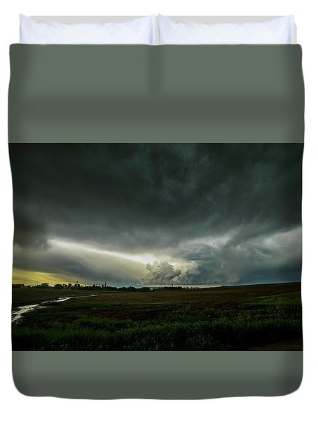 Rural Spring Storm Over Chester Nebraska Duvet Cover