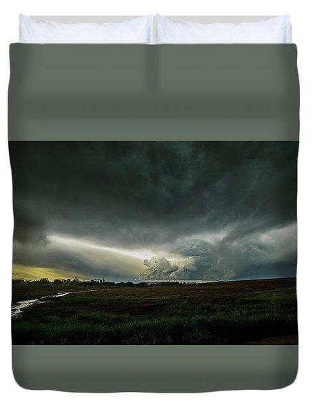 Rural Spring Storm Over Chester Nebraska Duvet Cover