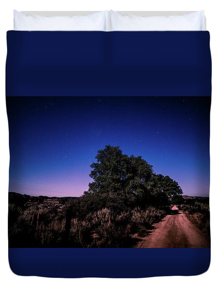 Duvet Cover featuring the photograph Rural Starlit Road by T Brian Jones