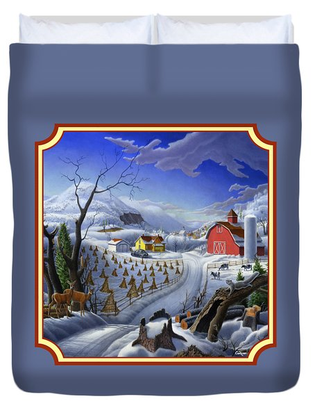 Rural Winter Country Farm Life Landscape - Square Format Duvet Cover
