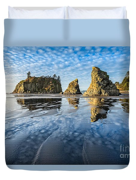 Ruby Beach Reflection Duvet Cover