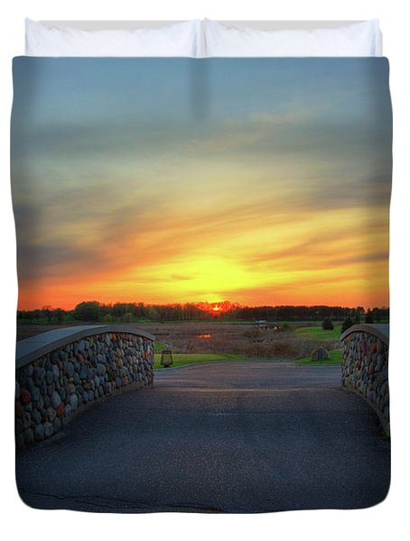 Rush Creek Golf Course The Bridge To Sunset Duvet Cover