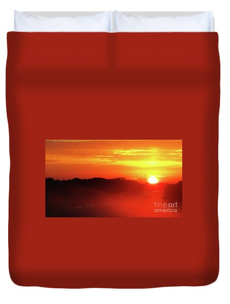 Rush Hour Begins At Sunrise I 94 To Madison Wisconsin Duvet Cover