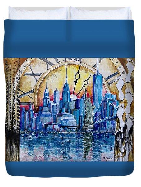 Rush Hour In New York  Duvet Cover by Geni Gorani