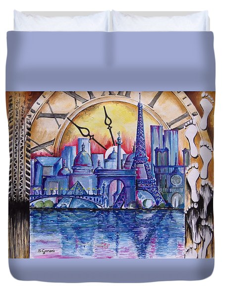 Rush Hour In Paris Duvet Cover