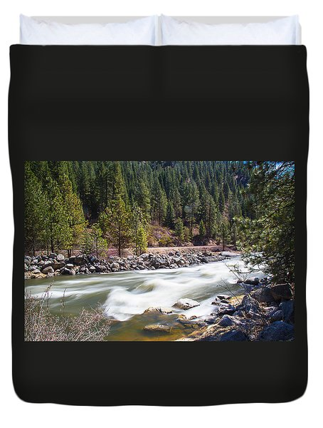 Duvet Cover featuring the photograph Rushing River by Dart Humeston
