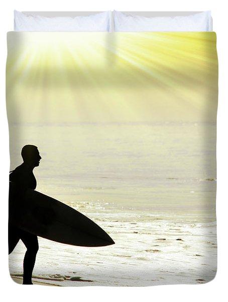 Rushing Surfer Duvet Cover by Carlos Caetano