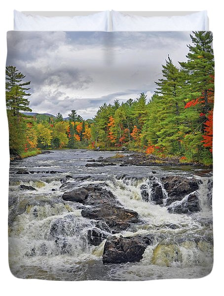 Duvet Cover featuring the photograph Rushing Towards Fall by Glenn Gordon