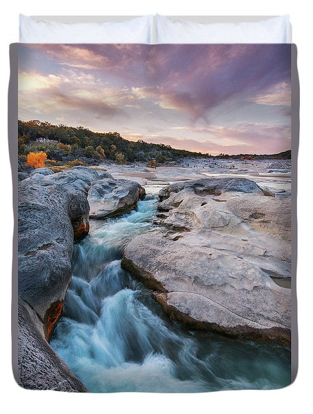 Rushing Waters At Pedernales Falls State Park - Texas Hill Country Duvet Cover