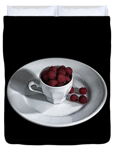 Duvet Cover featuring the photograph Ruspberries In The Cup - Livid Still-life by Raffaella Lunelli