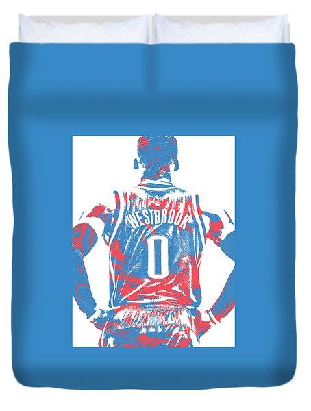 Russell Westbrook Oklahoma City Thunder Pixel Art 16 Duvet Cover