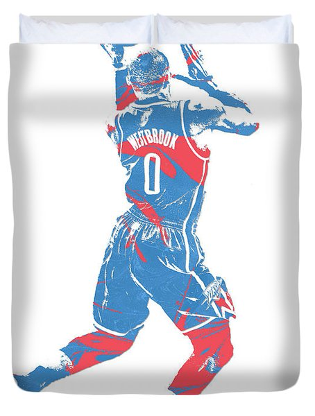 Russell Westbrook Oklahoma City Thunder Pixel Art 33 Duvet Cover