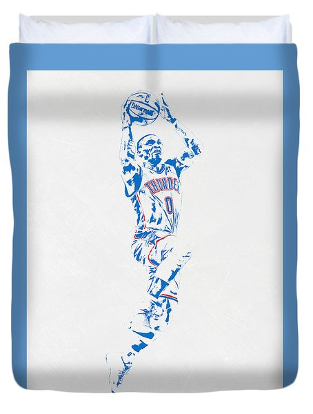 Russell Westbrook Oklahoma City Thunder Pixel Art Duvet Cover