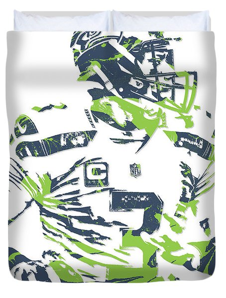 Russell Wilson Seattle Seahawks Pixel Art 10 Duvet Cover