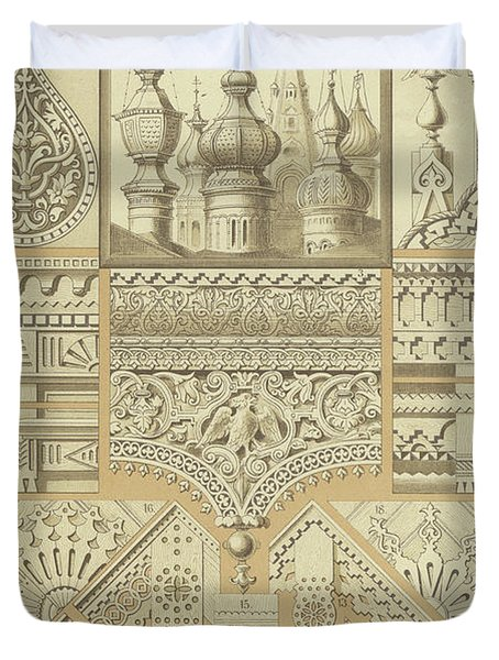 Russian, Architectural Ornaments And Wood Carvings Duvet Cover