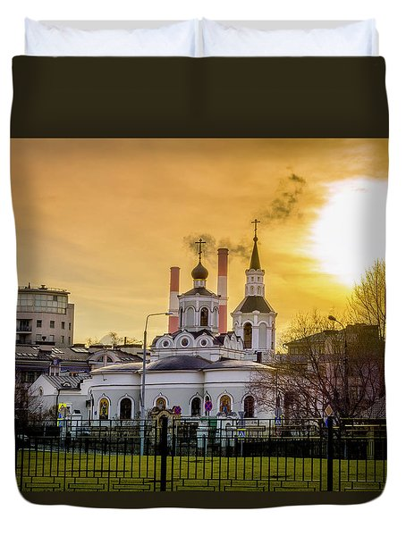 Duvet Cover featuring the photograph Russian Ortodox Church In Moscow, Russia by Alexey Stiop