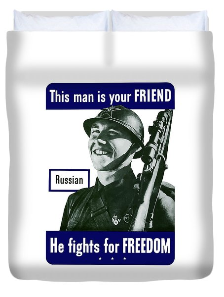 Russian - This Man Is Your Friend Duvet Cover by War Is Hell Store