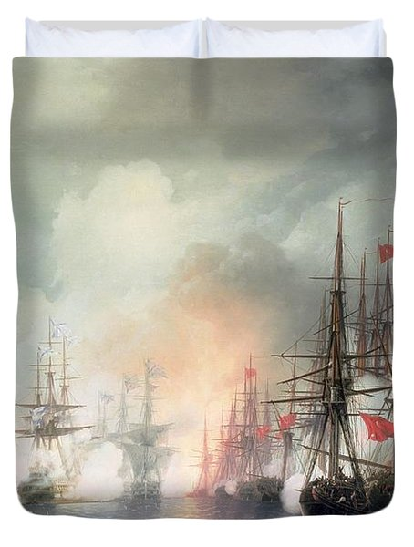 Russian Turkish Sea Battle Of Sinop Duvet Cover by Ivan Konstantinovich Aivazovsky
