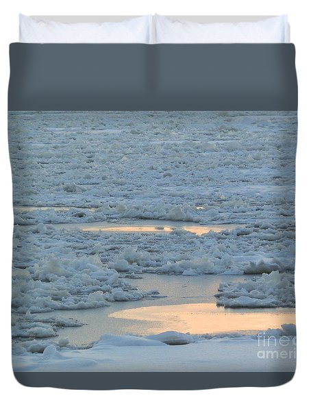 Russian Waterway Frozen Over Duvet Cover by Margaret Brooks
