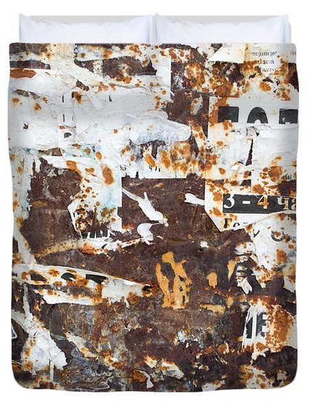 Duvet Cover featuring the photograph Rust And Torn Paper Posters by John Williams