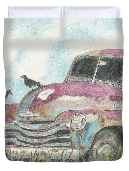 Duvet Cover featuring the drawing Rust In Peace by Arlene Crafton