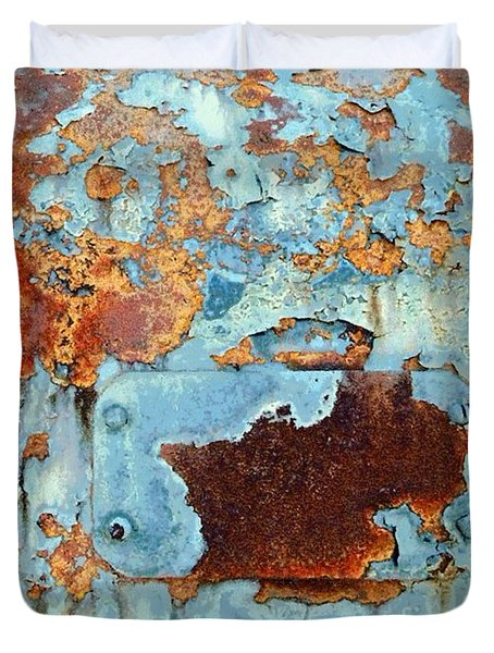 Duvet Cover featuring the photograph Rust - My Rusted World - Train - Abstract by Janine Riley