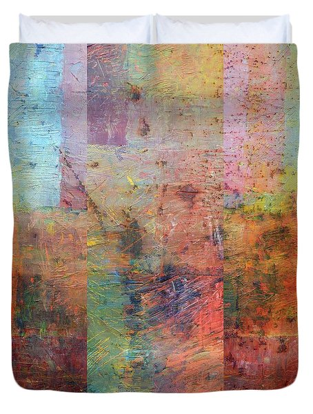 Duvet Cover featuring the painting Rust Study 1.0 by Michelle Calkins