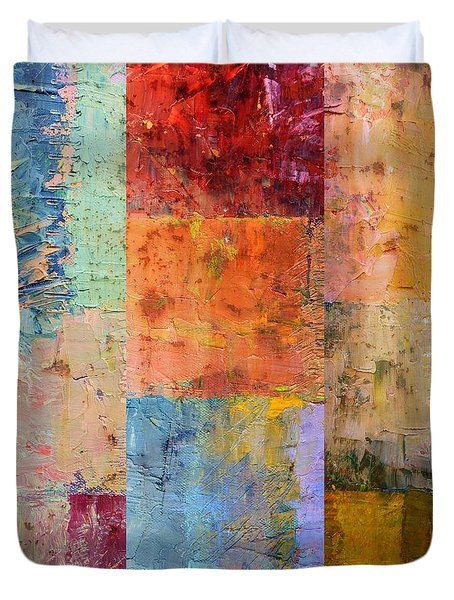 Duvet Cover featuring the painting Rust Study 2.0 by Michelle Calkins