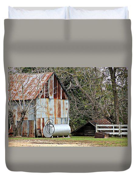 Rusted Tin Shed In Burnt Corn Duvet Cover by Lynn Jordan