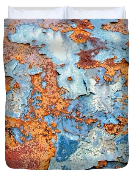 Rusted World In Blue - Across The Seas Duvet Cover
