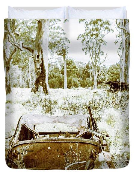 Rustic Australian Car Landscape Duvet Cover