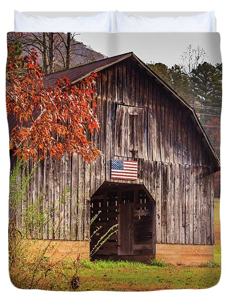 Rustic Barn In Autumn Duvet Cover