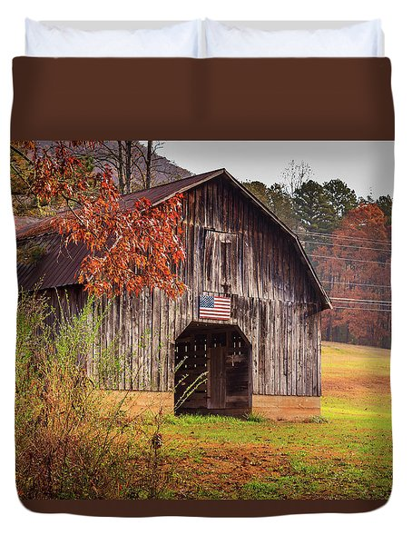 Duvet Cover featuring the photograph Rustic Barn In Autumn by Doug Camara