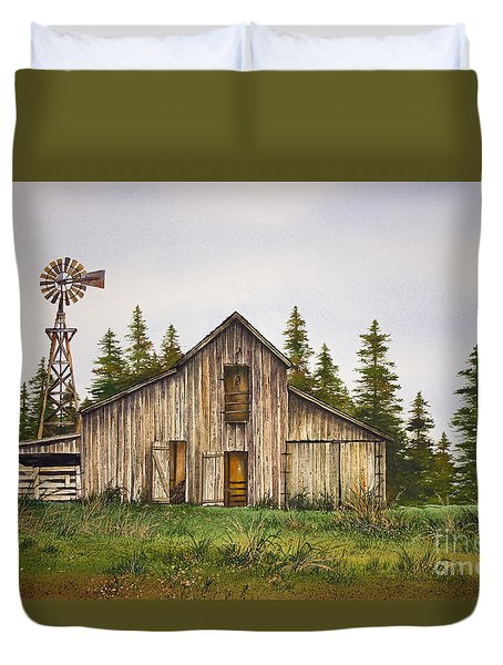 Duvet Cover featuring the painting Rustic Barn by James Williamson