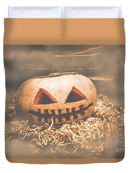 Rustic Barn Pumpkin Head In Horror Fog Duvet Cover