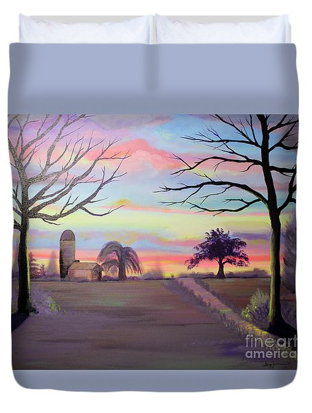 Duvet Cover featuring the painting Rustic Beauty by Stacey Zimmerman