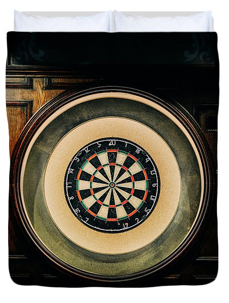 Rustic British Dartboard Duvet Cover