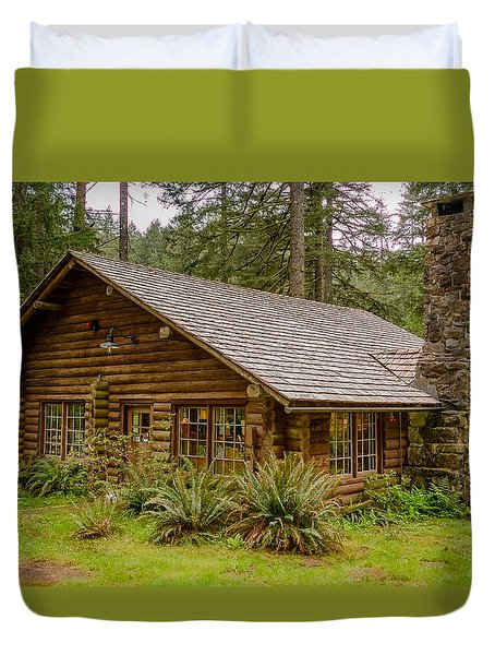 Duvet Cover featuring the photograph Rustic Cabin by Jerry Cahill