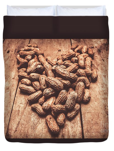 Rustic Country Peanut Heart. Natural Foods Duvet Cover
