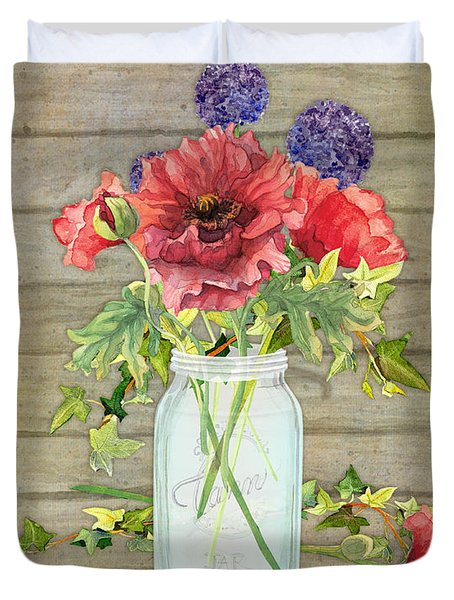 Rustic Country Red Poppy W Alium N Ivy In A Mason Jar Bouquet On Wooden Fence Duvet Cover