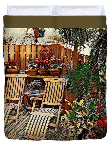 Duvet Cover featuring the digital art Rustic Deck by Pennie McCracken