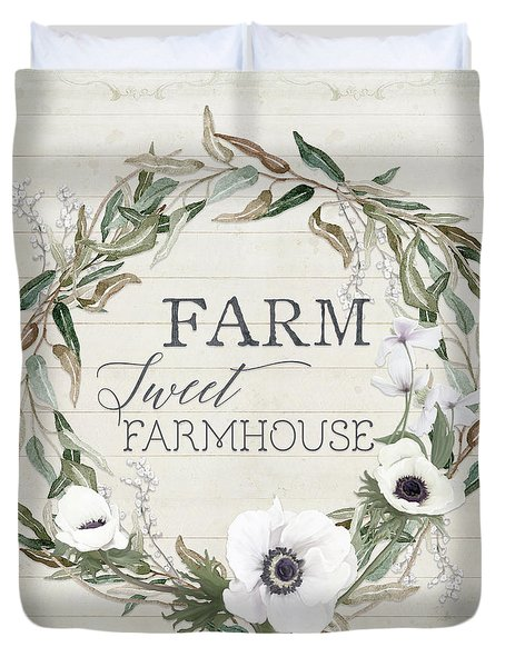 Rustic Farm Sweet Farmhouse Shiplap Wood Boho Eucalyptus Wreath N Anemone Floral 2 Duvet Cover