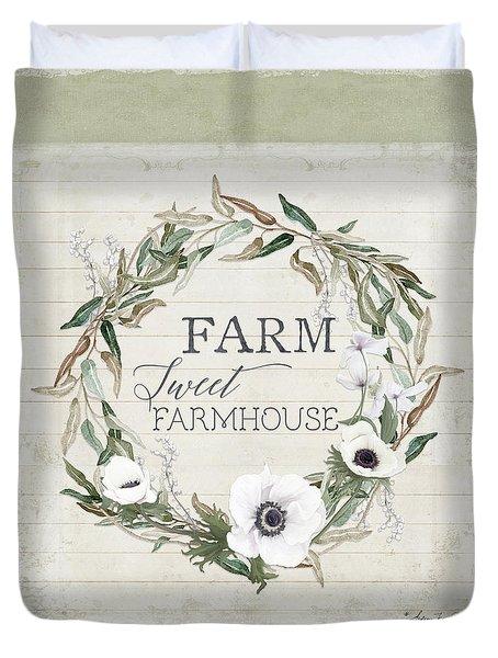 Rustic Farm Sweet Farmhouse Shiplap Wood Boho Eucalyptus Wreath N Anemone Floral Duvet Cover