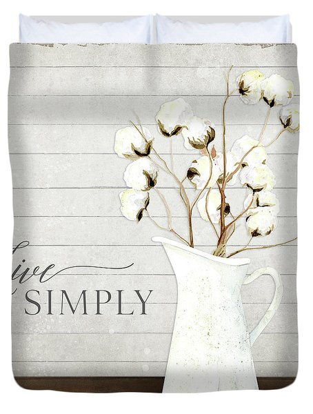 Rustic Farmhouse Cotton Boll Milk Pitcher Live Simply Duvet Cover
