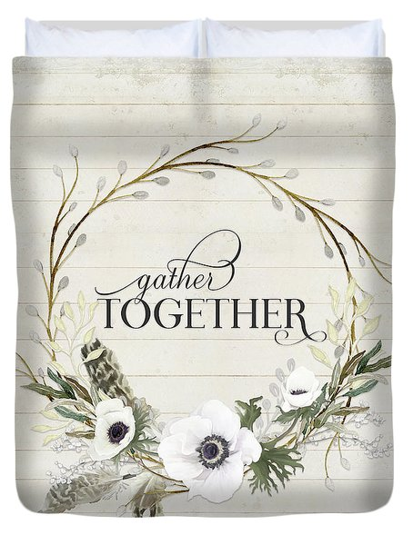 Rustic Farmhouse Gather Together Shiplap Wood Boho Feathers N Anemone Floral 2 Duvet Cover