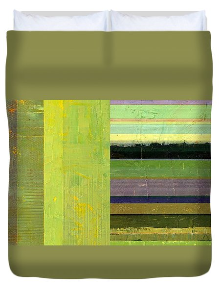 Duvet Cover featuring the painting Rustic Green Flag With Stripes by Michelle Calkins