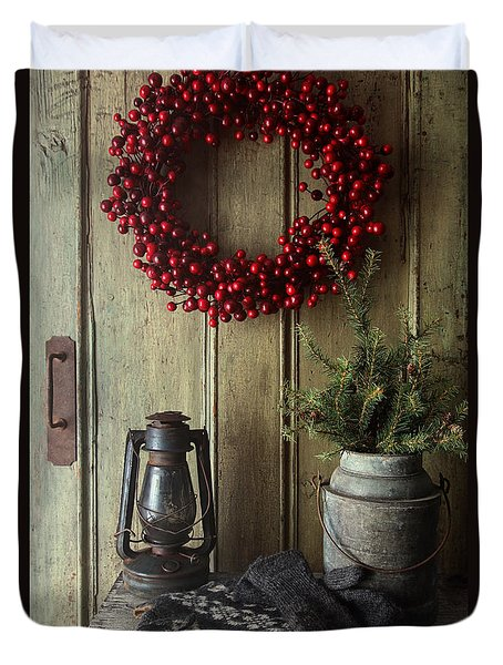 Rustic Holiday Scene With Lamp On Bench With Wreath Duvet Cover by Sandra Cunningham