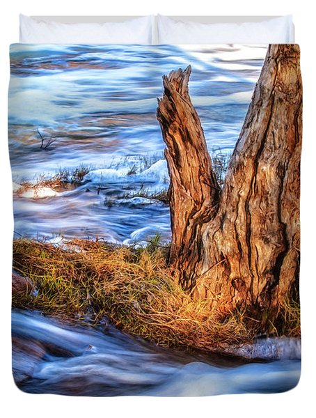 Duvet Cover featuring the photograph Rustic Island, Noble Falls by Dave Catley