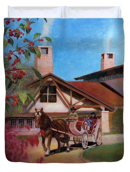 Duvet Cover featuring the painting Rustic Lodge by Nancy Lee Moran