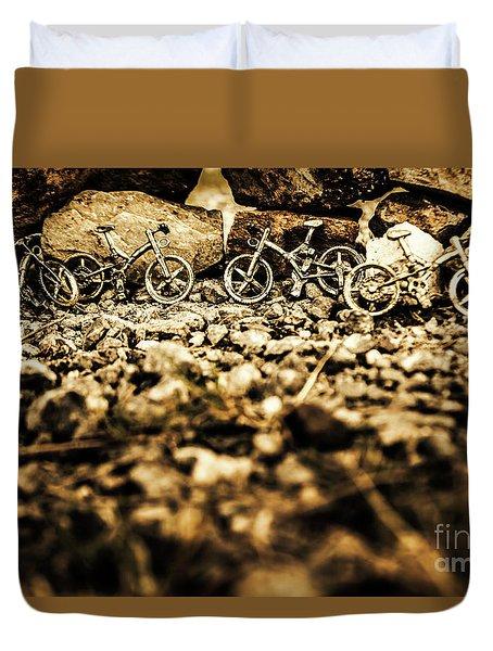 Rustic Mountain Bikes Duvet Cover
